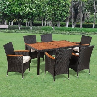 vidaXL Seven Piece Outdoor Dining Set Poly Rattan Acacia Table Top