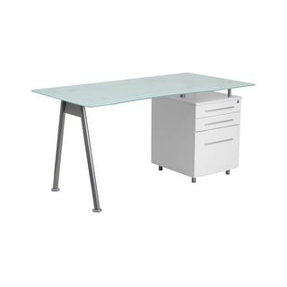 Offex White Computer Desk with Glass Top and Three Drawer Pedestal