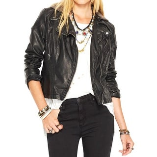 Free People Womens Motorcycle Jacket Faux Leather Cropped