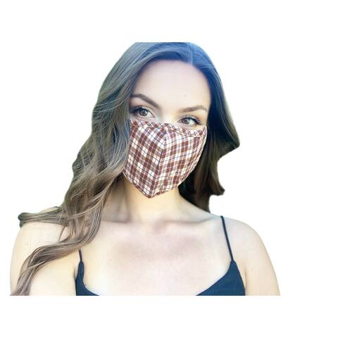 Brown Burberry Plaid Check Women's Reusable Fashion Cloth Face Mask with Adjustable Straps - Multi-color