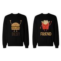 Burger and Fries BFF Sweatshirts Best Friend Matching Pullover Fleece
