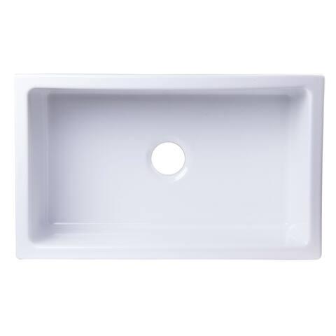"""ALFI brand AB3018UM-W 30"""" x 18"""" Undermount White Fireclay Kitchen Sink"""