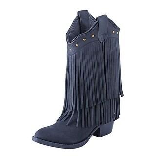 Old West Cowboy Boots Girls Kids Leather Fringe Black Nubuck 8126