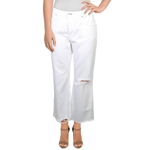 Rag & Bone Womens Rosa Flare Jeans Ankle Crop Raw Hem - Destructed Off White