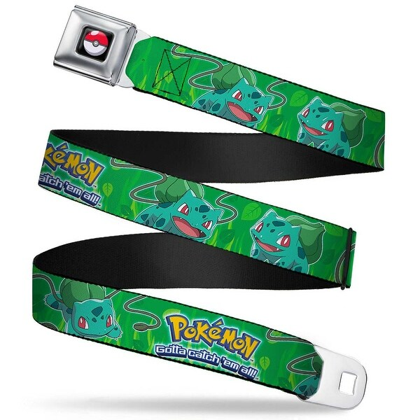 Pok Ball Full Color Black Pokmon Bulbasaur Poses Grass Leaves Greens Seatbelt Belt
