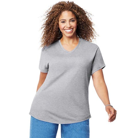 Just My Size Cotton Jersey Short-Sleeve V-Neck Women's Tee