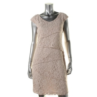 Ronni Nicole Womens Lace Tiered Cocktail Dress - 10