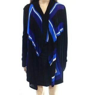 INC NEW Blue Black Women's Size Small S Colorblock Cardigan Sweater