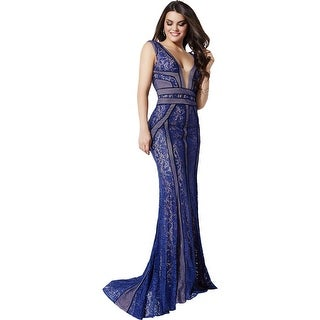 Jovani Lace Illusion Formal Dress