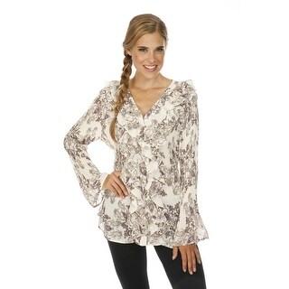Cathaya Women's Tan Scroll Print Ruffle Adorned Pleated Plus Size Shirt