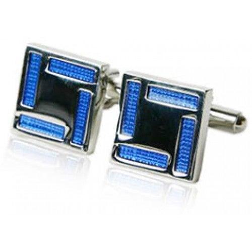 Blue Enamel Square Frame Cufflinks