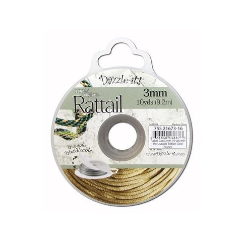 Dazzle It Rattail Cord 3mm 10yd Gold Bronze