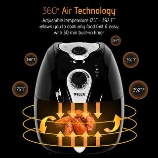 Della Electric Air Fryer w/ Temperature Control, Detachable Basket and Handle - Black, 1500W