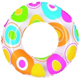 "24"" Colorful Circle Print Inflatable Swimming Pool Inner Tube Ring Float"
