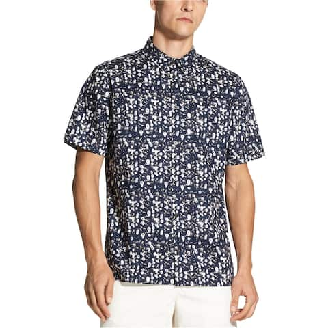 DKNY Mens Floral SS Button Up Shirt, Blue, Large