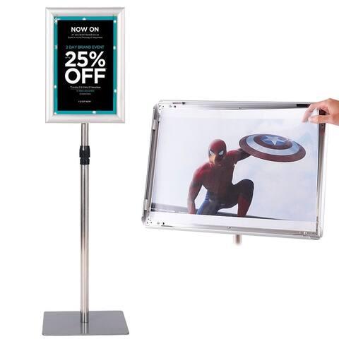 Gymax Adjustable Pedestal Poster Stand Aluminum Sign Holder 8.5 x 11