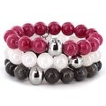 Dyed Jade and Stainless Steel Bracelet 3 Piece Set - Thumbnail 0