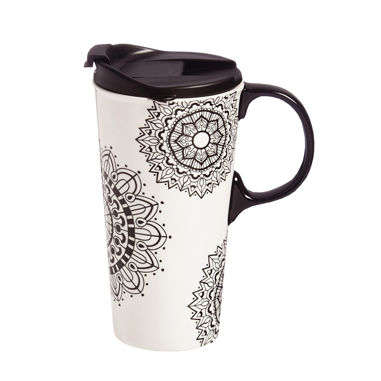 Cypress Home Color Your Own Mandala Travel Mug Diy Ceramic Coffee Cup With Silicone Lid 17 Oz 5 33 In Overstock 23054879
