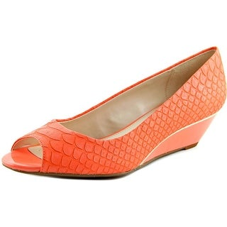 Alfani Cammi Women Open Toe Leather Orange Wedge Heel