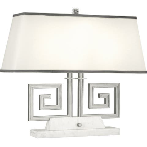 Robert Abbey S441 Two Light Table Lamp Jonathan Adler Mykonos Polished Nickel/White Marble - One Size