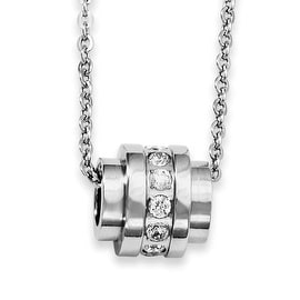 Stainless Steel CZ Pendant 20in Necklace (2 mm) - 20 in