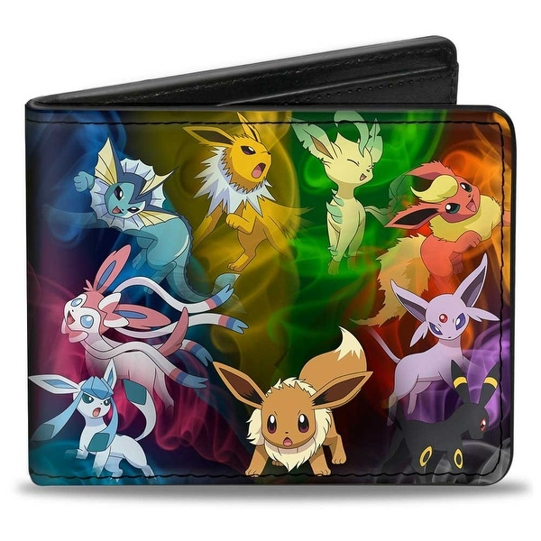Eevee Smokey Evolution Black Multi Color Bi Fold Wallet - One Size Fits most