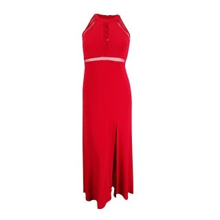 Nightway Women's Petite Lace-Up Illusion Halter Gown - Red