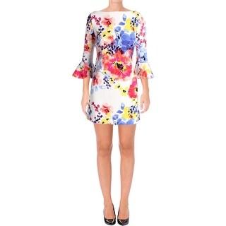 Tahari ASL Womens Petites Cocktail Dress Bell Sleeves Floral Print - 6P