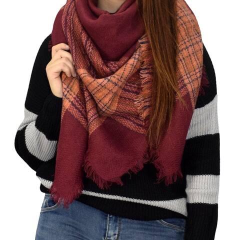 Warm Tartan Plaid Woven Oversized Fringe Scarf Blanket Shawl Wrap