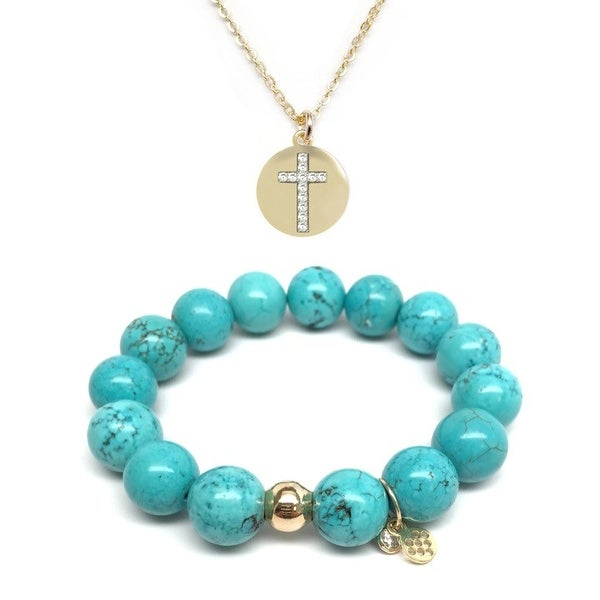 Turquoise Magnesite Bracelet & CZ Cross Disc Gold Charm Necklace Set