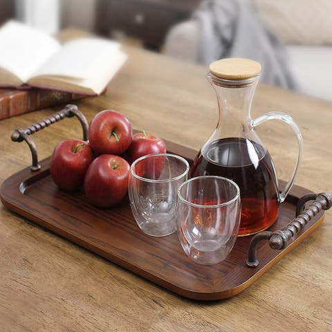Solid Wood Serving Tray/Platters, Decorative Tray with Metal Handles