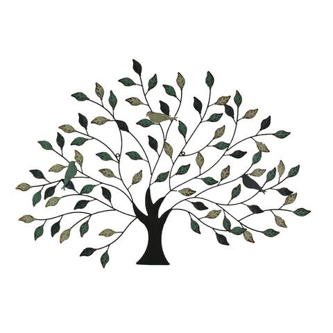 38 inch Tri Tone Leaves Birds In Branches Metal Tree Indoor Outdoor Wall Decor