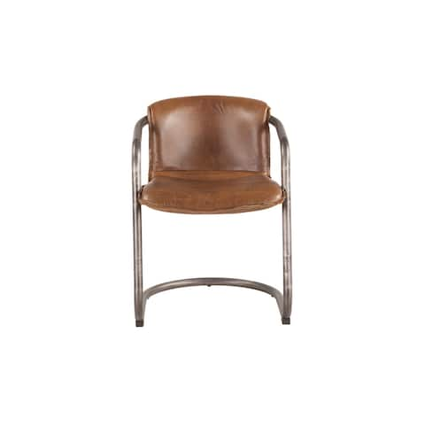 Chiavari Set of Two Distressed Leather Dining Chairs