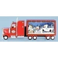 "25.5"" Amusements Musical Red Semi Truck with Winter Scene Christmas Decoration"