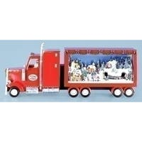 "25.5"" Red and White Red Semi Truck with Winter Scene Christmas Table Topper"