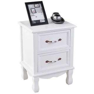 Costway 2 Drawers Nightstand End Side Table Storage Display Room Furniture Decor White