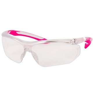 Forney 55428 Safety Glasses, Parralax with Pink Flex Temple and Clear Frame, Clear Lens