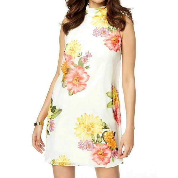 2c87451a27de Shop Jessica Howard White Floral Print Mock Neck Chiffon 16 Shift Dress -  Free Shipping On Orders Over $45 - Overstock - 27369598