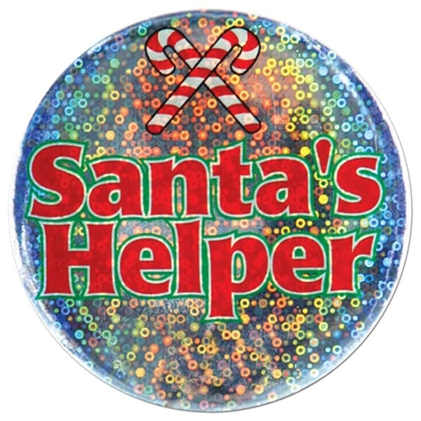 """Club Pack of 12 Shimmering """"Santa's Helper"""" Christmas Buttons 3.5"""""""