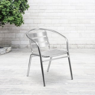 Link to Heavy Duty Commercial Aluminum Indoor-Outdoor Slat-Back Restaurant Stack Chair Similar Items in Patio Furniture
