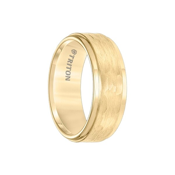 AVEN Gold Plated Tungsten Carbide Step Edge Comfort Fit Band with Hammered Center by Triton Rings - 8mm