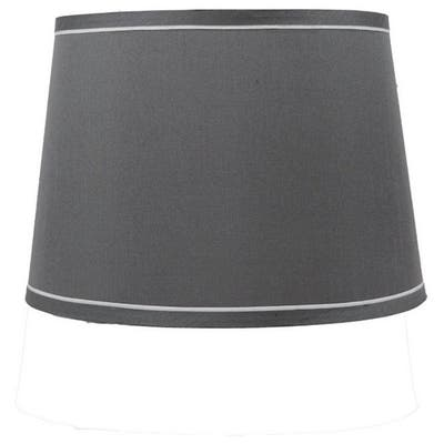 French Drum With White Trim Lampshade, 12 inch Top, 14 inch Bottom, 10 inch Slant