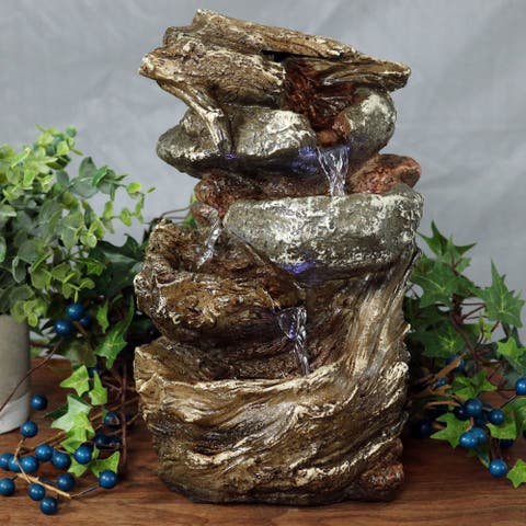 Sunnydaze Tiered Rock and Log Tabletop Fountain with LED Lights - 10.5-Inch