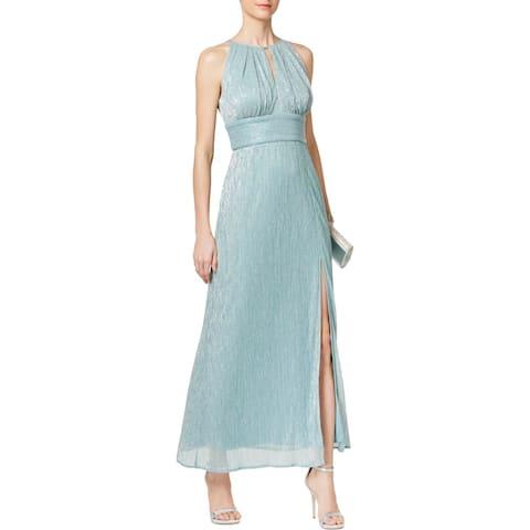 R & M Richards Womens Evening Dress Halter Metallic