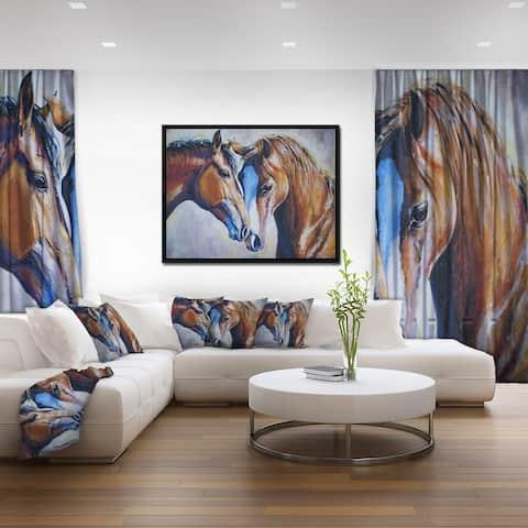 Designart 'Brown Amorous Horses' Animal Art Framed Canvas Print