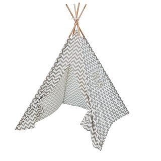 Sunnydaze Grey Chevron Kids Teepee Play Tent with Carrying Case - 5 Foot