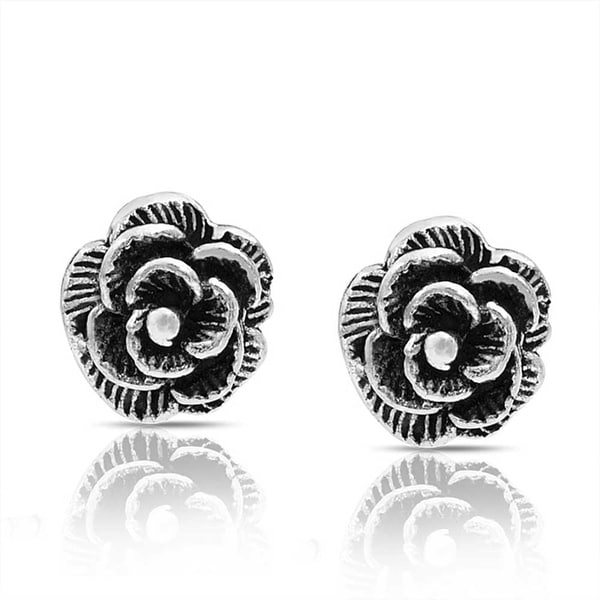 Oxidized Rose Stud Earrings Sterling Silver 925 Best Price Flower Jewelry Gift