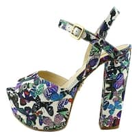 GUESS Womens Den 3 Peep Toe Ankle Strap Classic Pumps