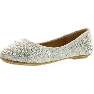 Link Girls Larisa-39K Rhinestone Ballet Ballerina Flats Shoes - Silver
