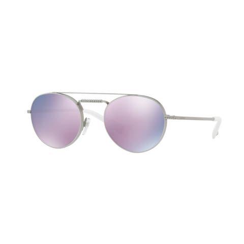Valentino VA2004B 30195R 51 Shiny Sandblast Silver Woman Oval Sunglasses